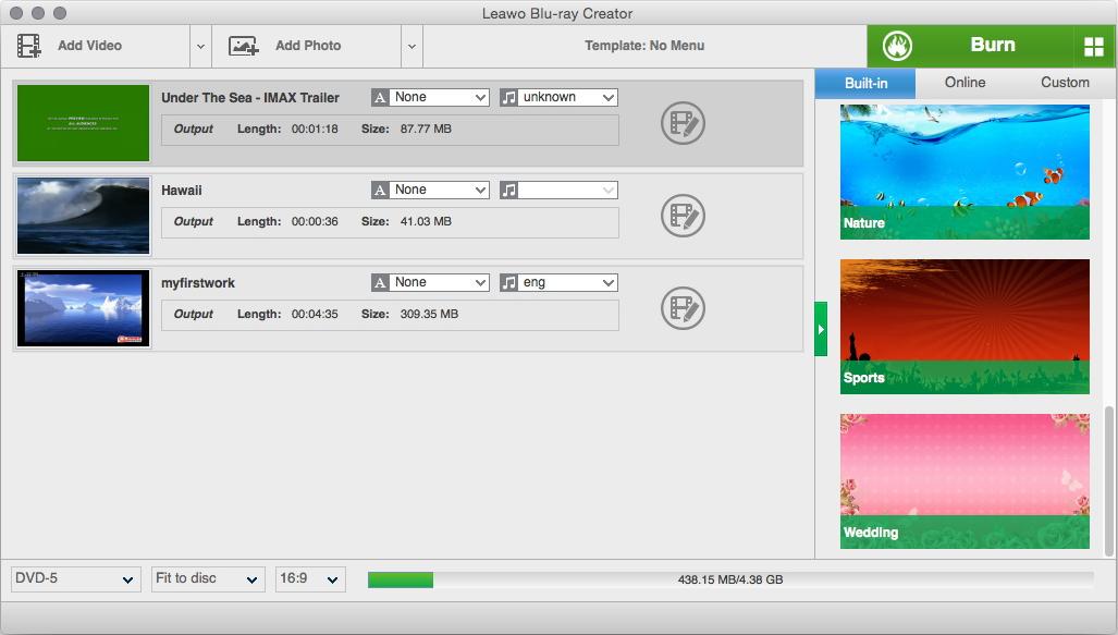 Blu-ray Creator for Mac - Burn AVI, MP4, MOV, WMV, etc  to