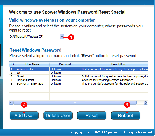 password reset windows 7 starter on usb